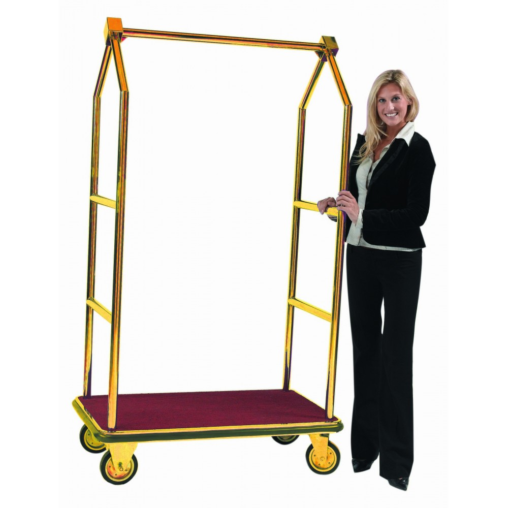 Aarco Products LC-2B Bellman's Luggage Cart with Brass Finish