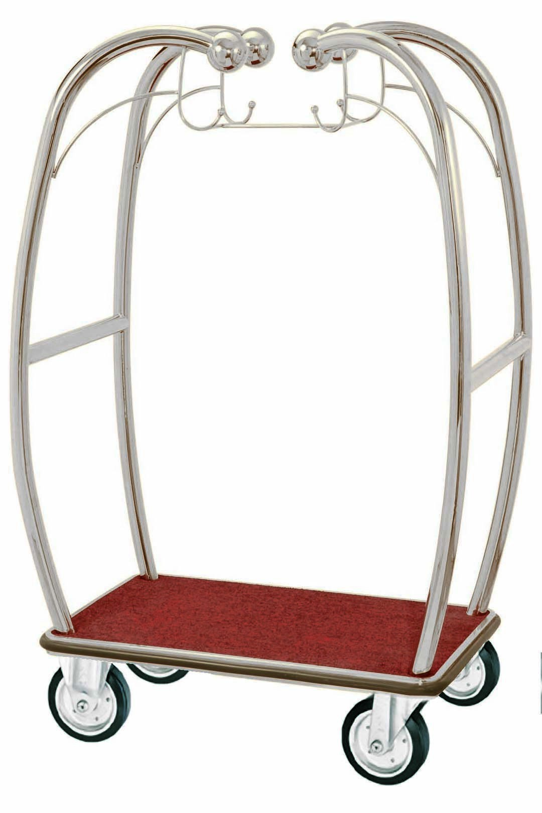 Aarco Products BEL-101C Bellman's Curved Luggage Cart. Chrome Finish