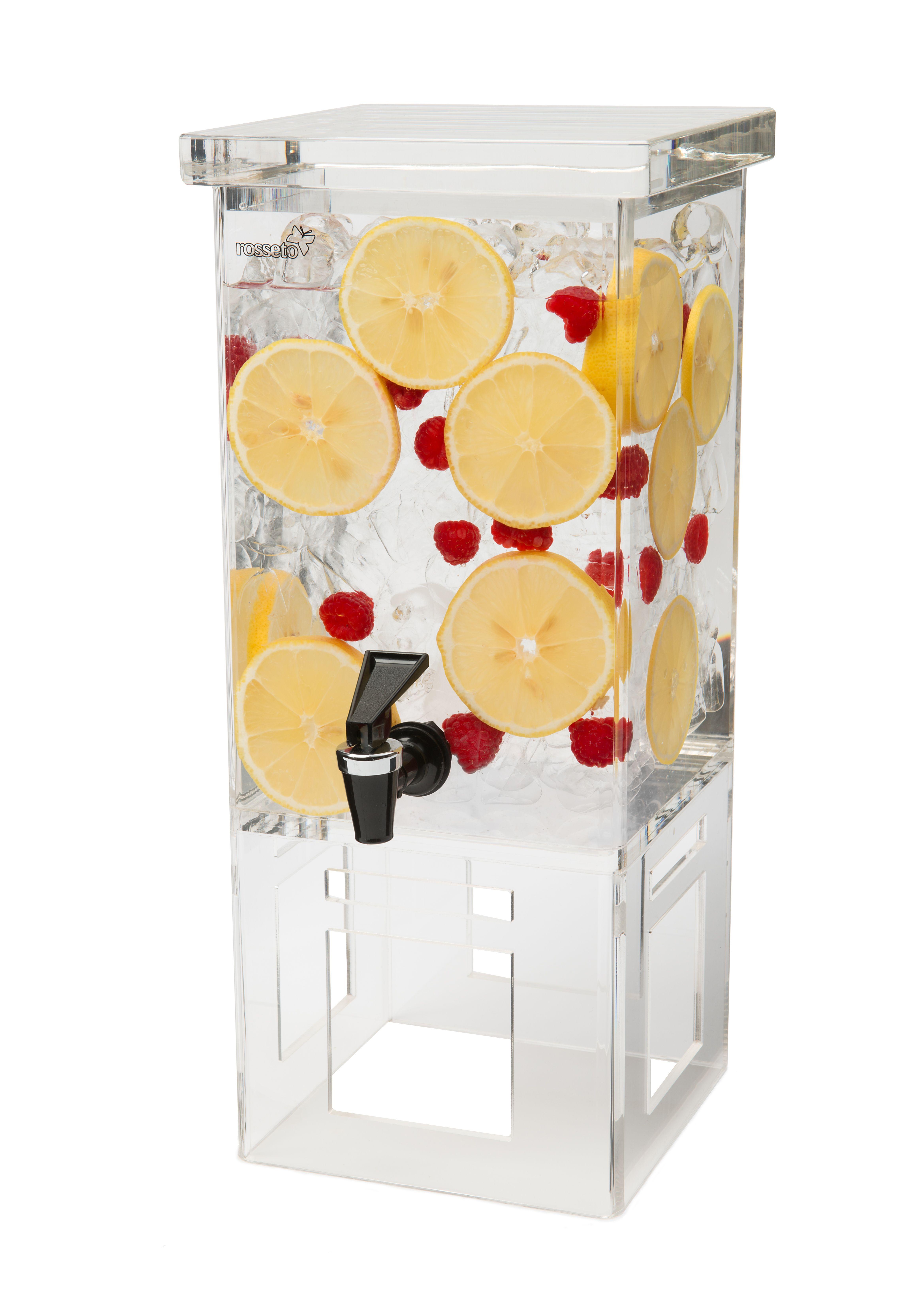 Rosseto LD106 Rectangular Acrylic Base Beverage Dispenser 1 Gallon