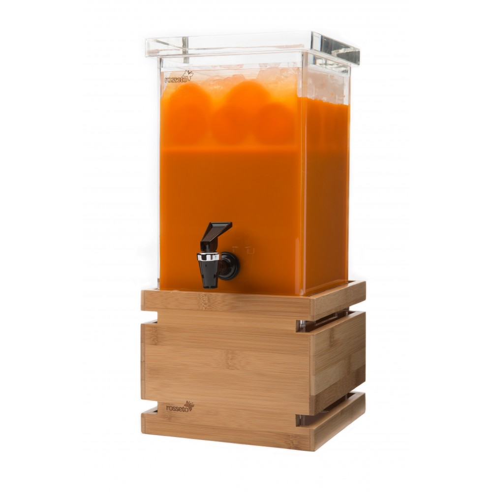 Beverage Dispenser 1 Gallon Square with Natural Bamboo Base & Ice Basket- 7.25