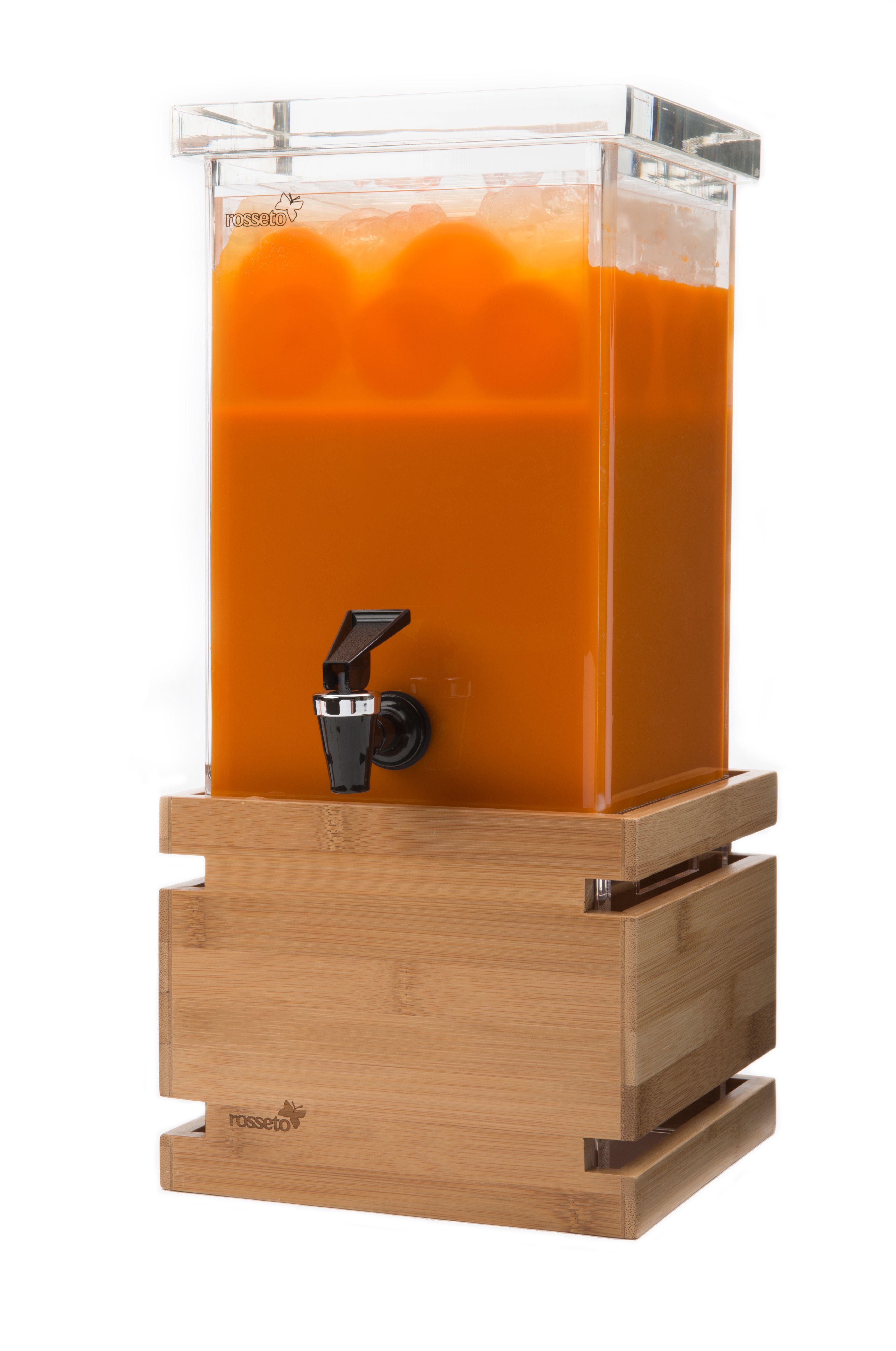Rosseto LD116 Rectangular Bamboo Base Beverage Dispenser 1 Gallon