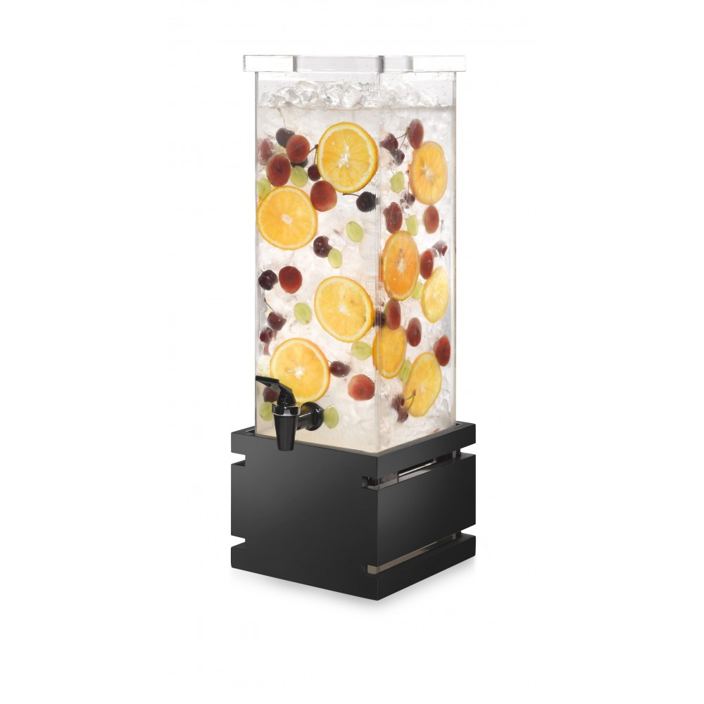 Rosseto LD121 Square Black Gloss Bamboo Base Beverage Dispenser 2 Gallon