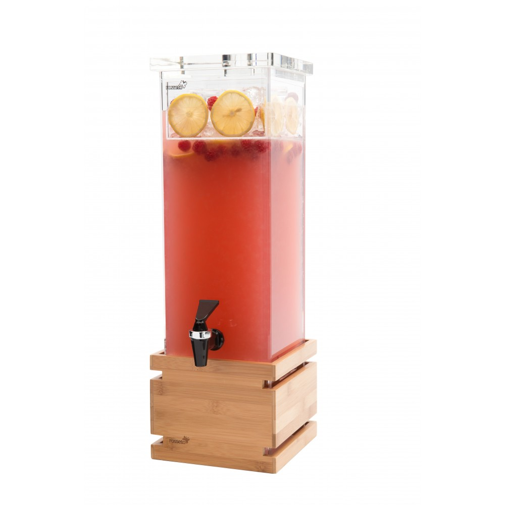 Beverage Dispenser 2 Gallon Square with Natural Bamboo Base & Ice Basket- 6.75