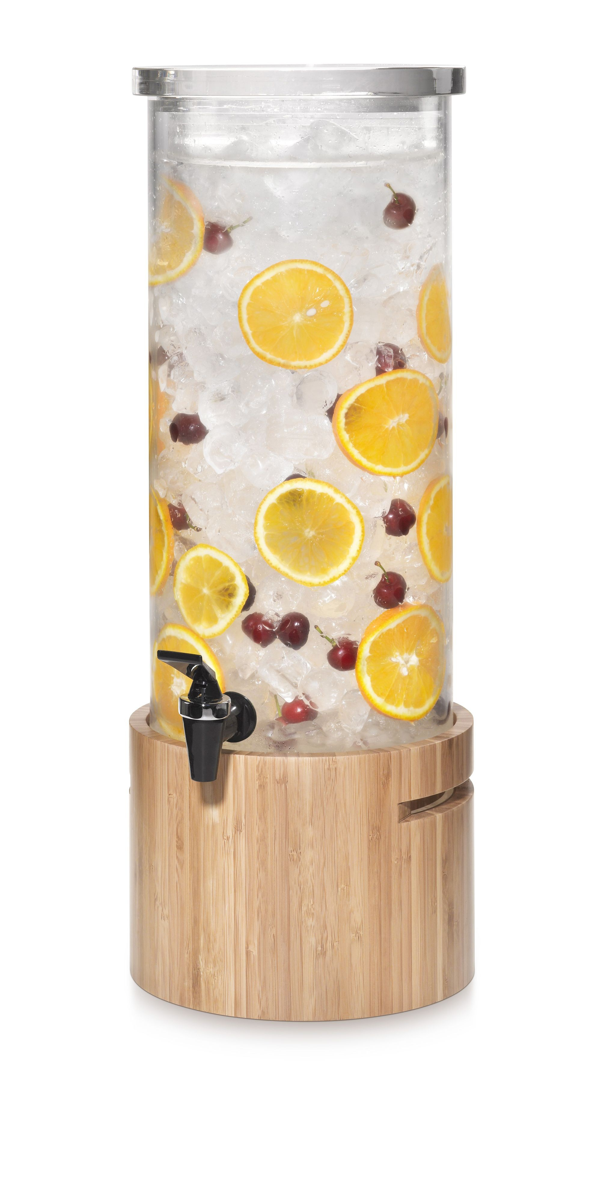 Beverage Dispenser 3 Gallon Round with Natural Bamboo Base & Ice Basket- 10.87