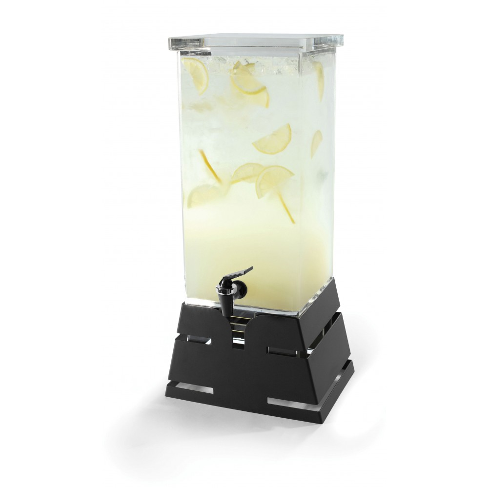 Rosseto LD140 Square Black Matte Pyramid Base Beverage Dispenser 4 Gallon