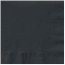 Beverage Napkins, 2-Ply, 9 7/8 x 9 7/8, Black