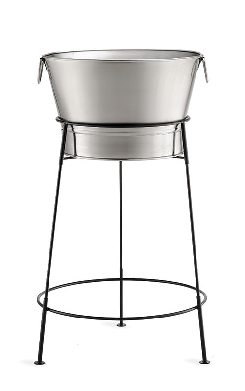 "TableCraft BT2137N Stainless Steel Beverage Tub with Black Stand, 20"" x 37-1/2"""
