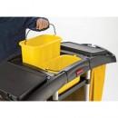 Bi-Bag Waste-Collection Cleaning Cart, 3 Shelves, 22w x 51 3/4d x 44h, Black