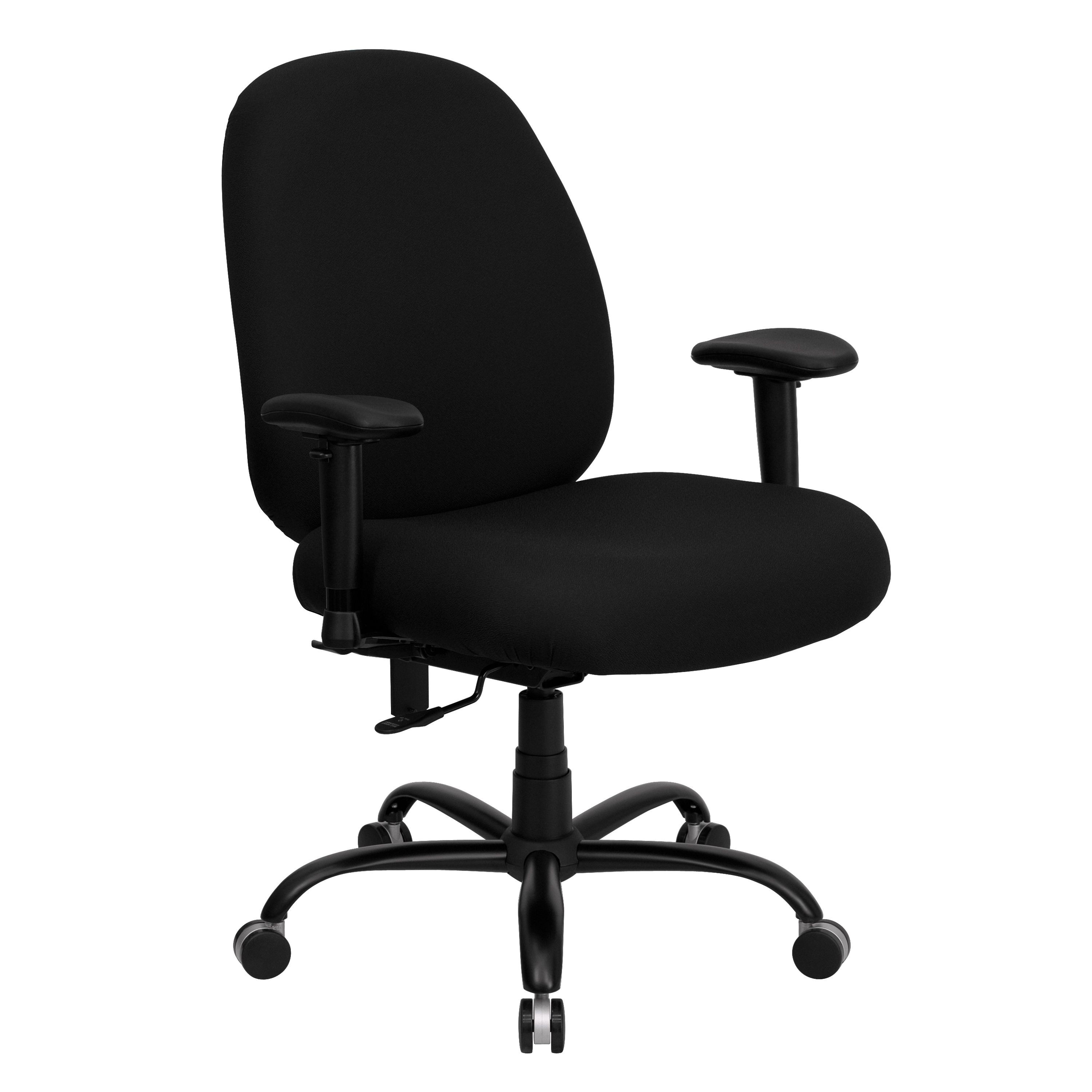 Flash Furniture WL-715MG-BK-A-GG Big and Tall Black Fabric Task Chair with Arms