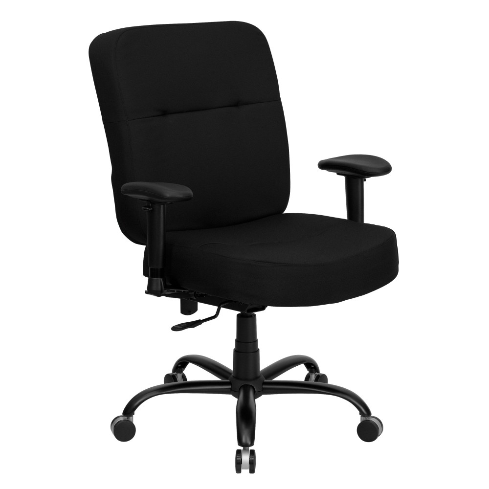 Flash Furniture WL-735SYG-BK-A-GG HERCULES Series 500 Lb. Capacity Big and Tall Executive Fabric Swivel with Arms