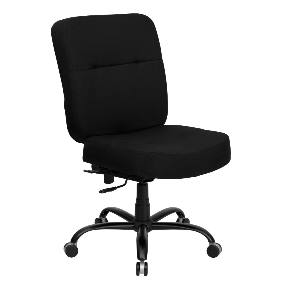 Flash Furniture WL-735SYG-BK-GG HERCULES Series 400 Lb. Capacity Big and Tall Executive Fabric Swivel with No Arms