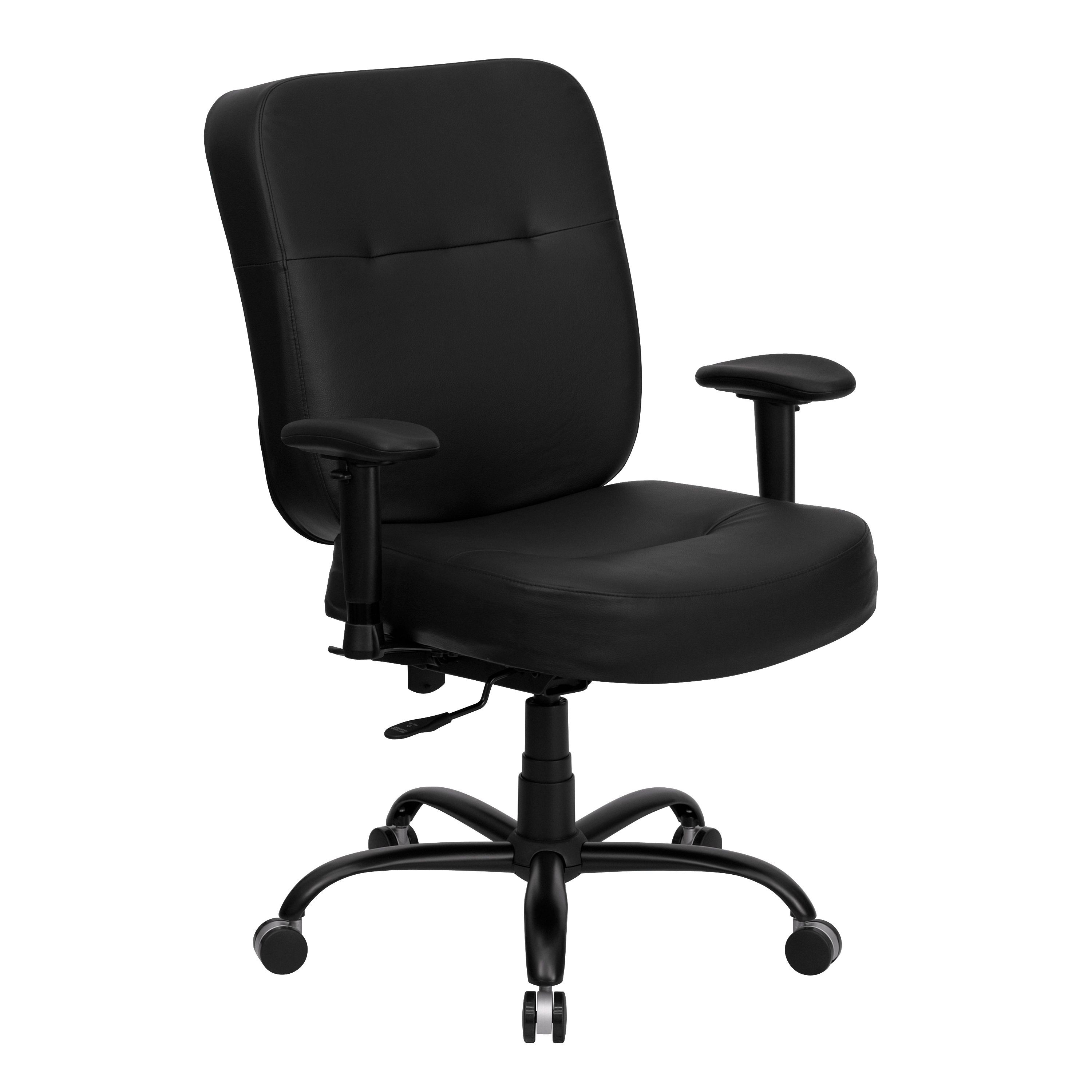 Flash Furniture WL-735SYG-BK-LEA-A-GG HERCULES Series Big & Tall Black Fabric Executive Task Chair with Extra Wide Seat and Arms, 400 Lb. Capacity