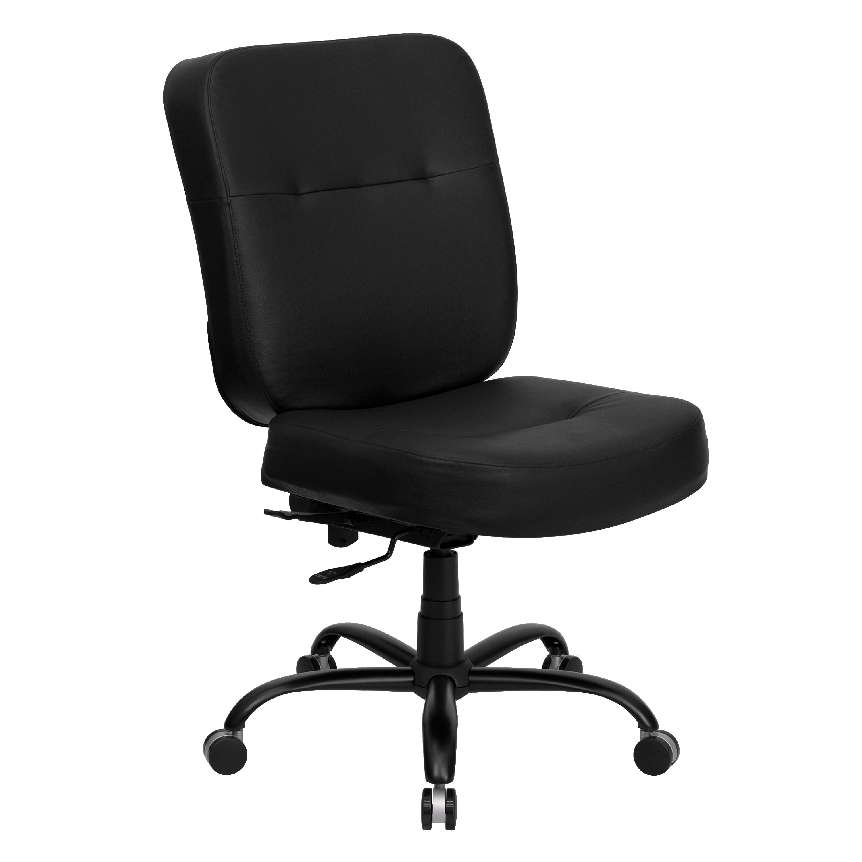 Flash Furniture WL-735SYG-BK-LEA-GG HERCULES Series Big & Tall Black Leather Executive Task Chair with Extra Wide Seat, 400 Lb. Capacity