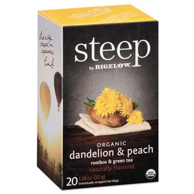 Bigelow Steep Tea, Dandelion & Peach, 1.18 oz. Tea Bag, 20/Box