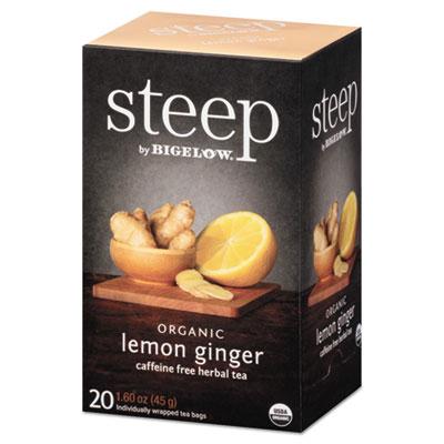 Bigelow Steep Tea, Lemon Ginger, 1.6 oz. Tea Bag, 20/Box