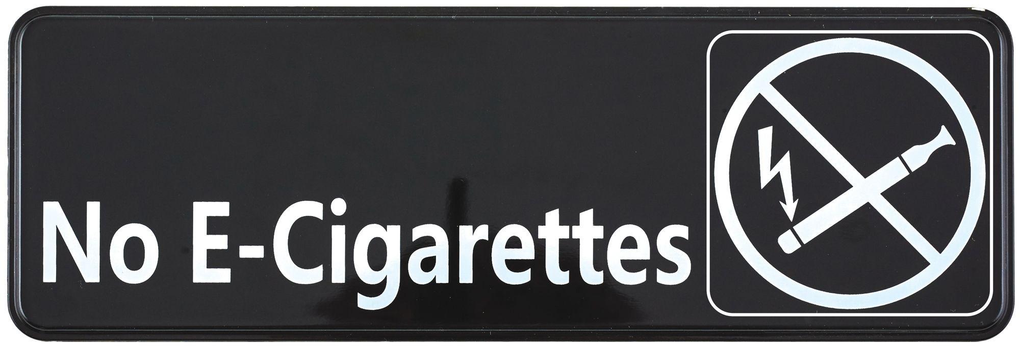 """Winco SGN-335 Black """"No E-Cigarettes"""" Information Sign, 3"""" x 9"""""""