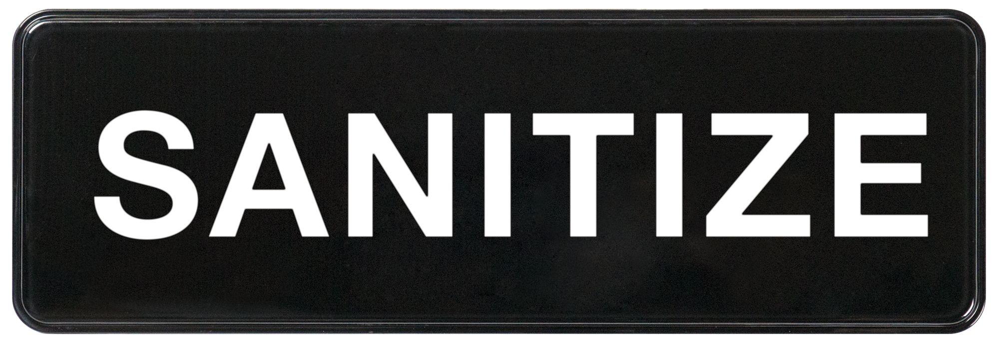 "Winco SGN-329 Black ""Sanitize"" Information Sign, 3"" x 9"""