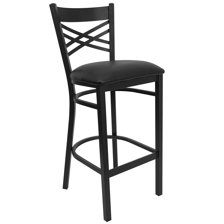 "Flash Furniture XU-6F8BXBK-BAR-BLKV-GG HERCULES Series Black ""X"" Back Metal Bar Stool with Black Vinyl Seat"