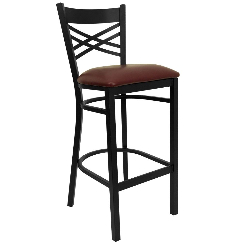 "Flash Furniture xu-6f8bxbk-bar-burv-gg HERCULES Series Black ""X"" Back Metal Bar Stool with Burgundy Vinyl Seat"
