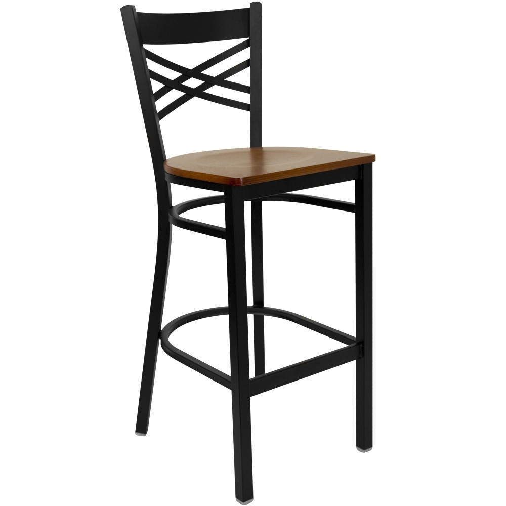 "Flash Furniture XU-6F8BXBK-BAR-CHYW-GG HERCULES Series Black ""X"" Back Metal Bar Stool with Cherry Wood Seat"