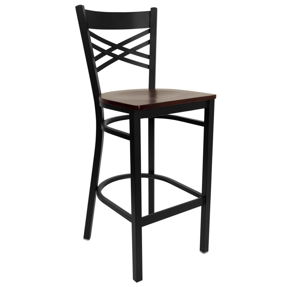 "Flash Furniture XU-6F8BXBK-BAR-MAHW-GG HERCULES Series Black ""X"" Back Metal Bar Stool with Mahogany Wood Seat"