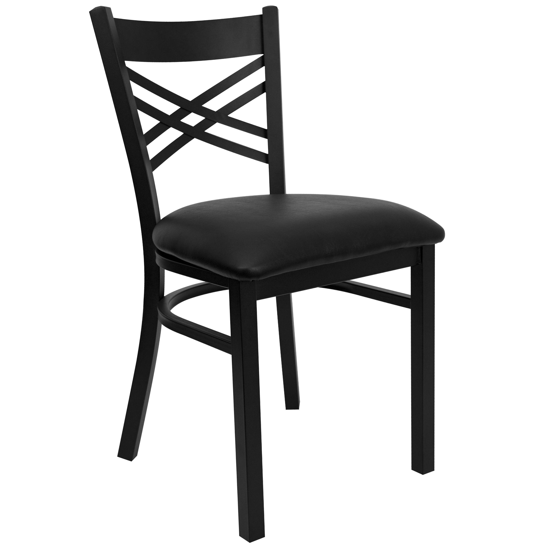 "Flash Furniture XU-6FOBXBK-BLKV-GG HERCULES Series Black ""X"" Back Metal Chair with Black Vinyl Seat"