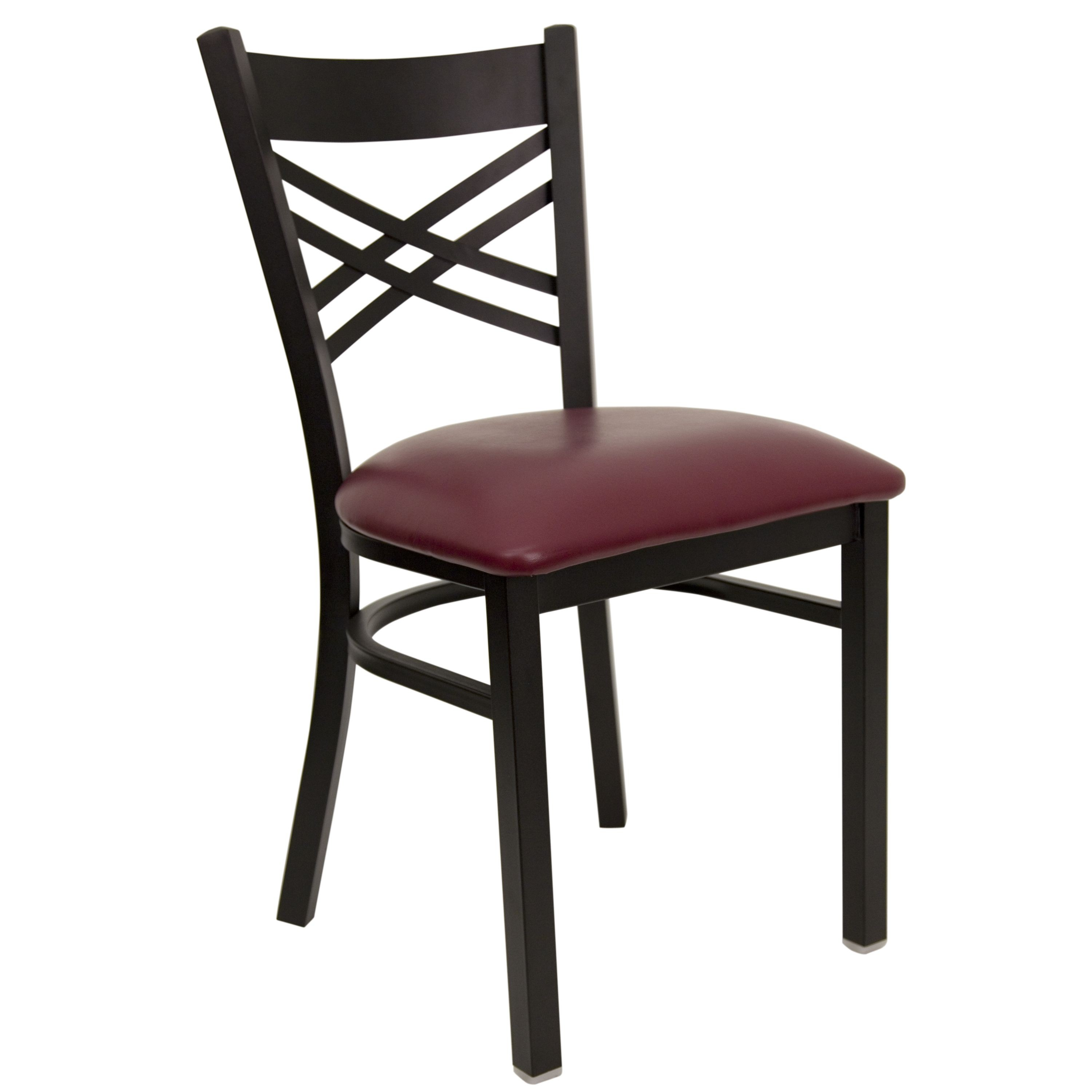"Flash Furniture XU-6FOBXBK-BURV-GG HERCULES Series Black ""X"" Back Metal Chair with Burgundy Vinyl Seat"