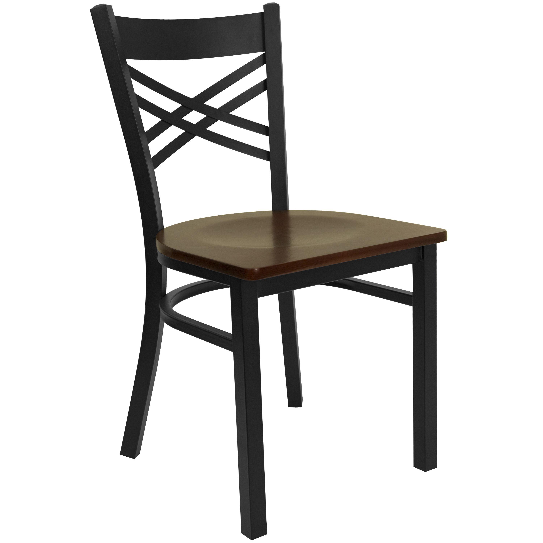 "Flash Furniture xu-6fobxbk-mahw-gg HERCULES Series Black ""X"" Back Metal Chair with Mahogany Wood Seat"