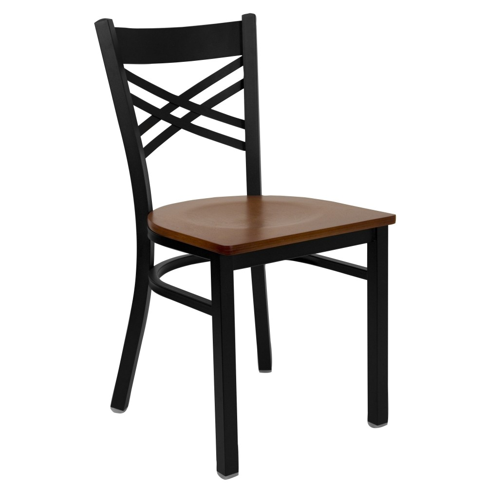 "Flash Furniture XU-6FOBXBK-CHYW-GG HERCULES Series Black ""X"" Back Metal Chair with Cherry Wood Seat"