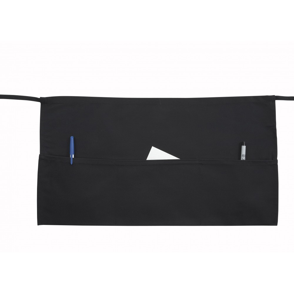 "Black 3-Pocket Poly/Cotton Twill Waist Apron - 22"" x 12"""