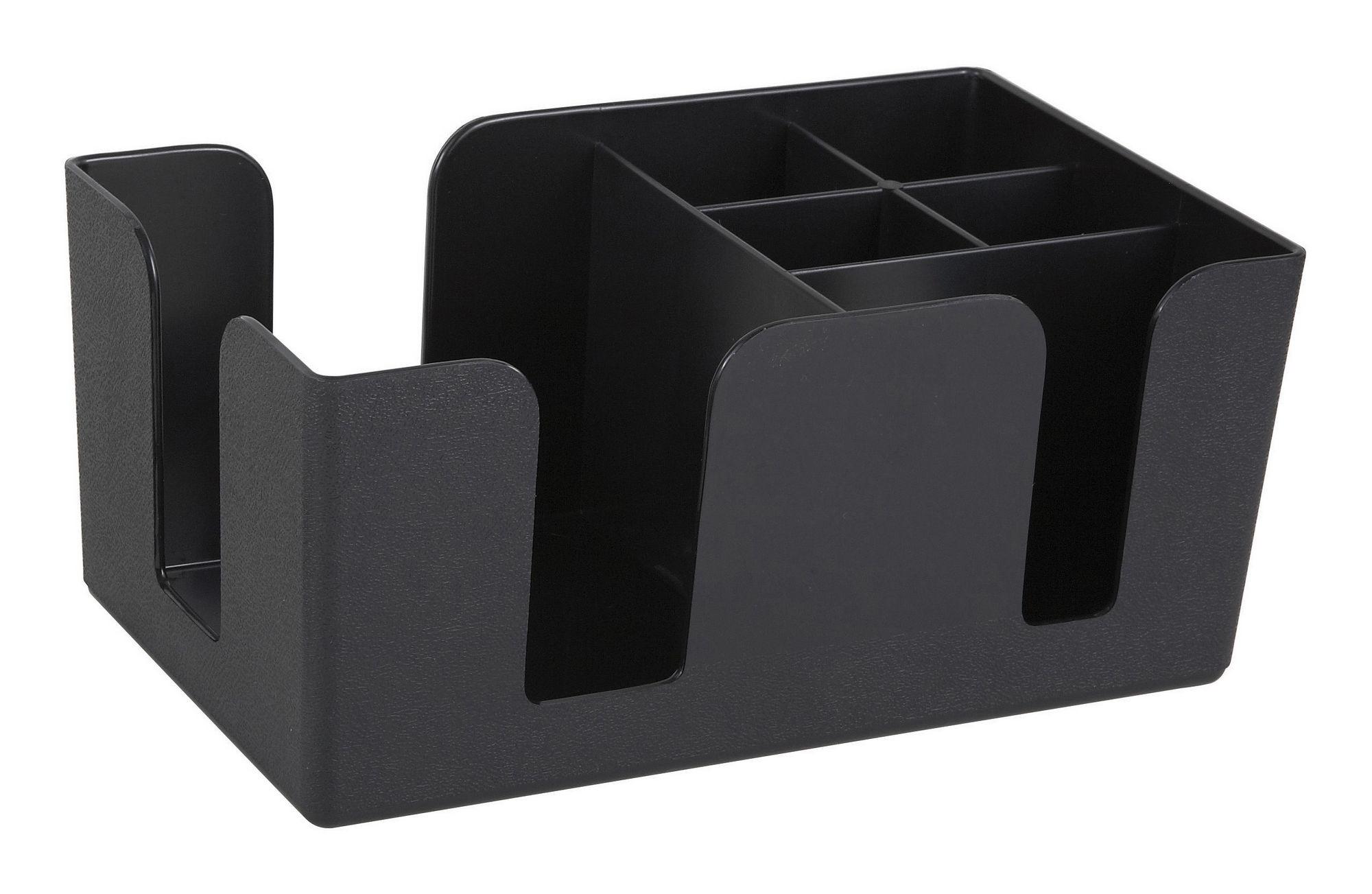 Winco BC-6 6-Compartment Black Plastic Bar Caddy