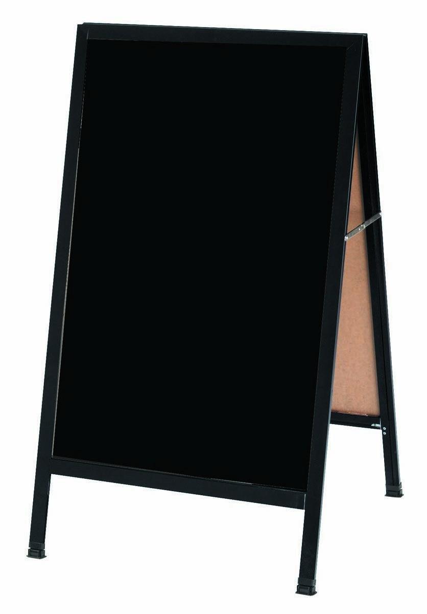 "Aarco Products BA-1BP  A-Frame Sidewalk Black Acrylic Board with Black Aluminum Frame 42""W x 24""H"