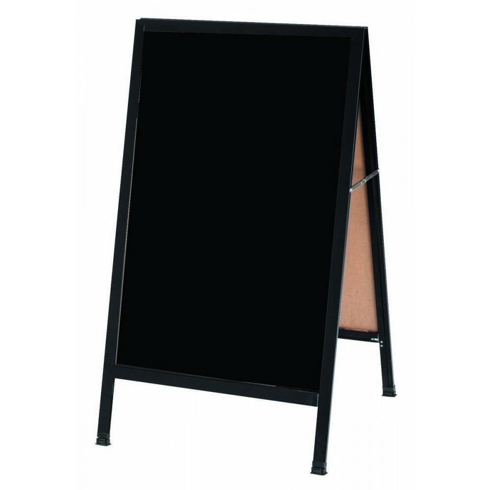 "Aarco Products BA-1BP  A-Frame Sidewalk Black Acrylic Board with Black Aluminum Frame   24""H x 42""W"