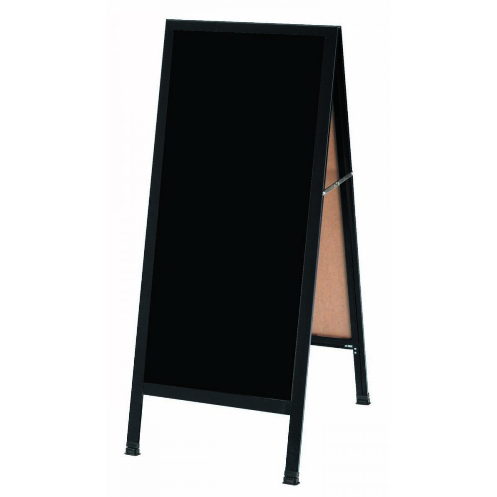 "Aarco Products BA-311 A-Frame Sidewalk Black Markerboard Board with  Black Aluminum Frame 18""W x 42""H"