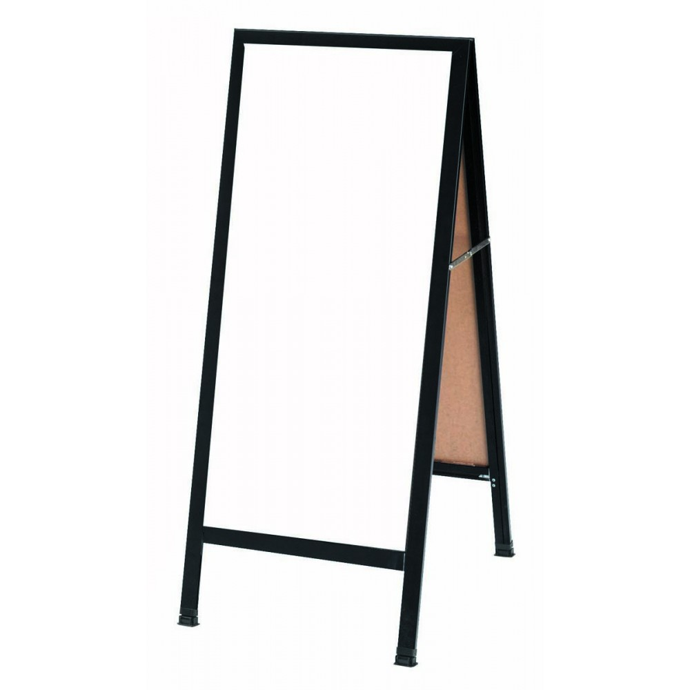 """Aarco Products BA-35 A-Frame Sidewalk White Melamine Markerboard with Black Aluminum Frame 18""""W x 42""""H"""