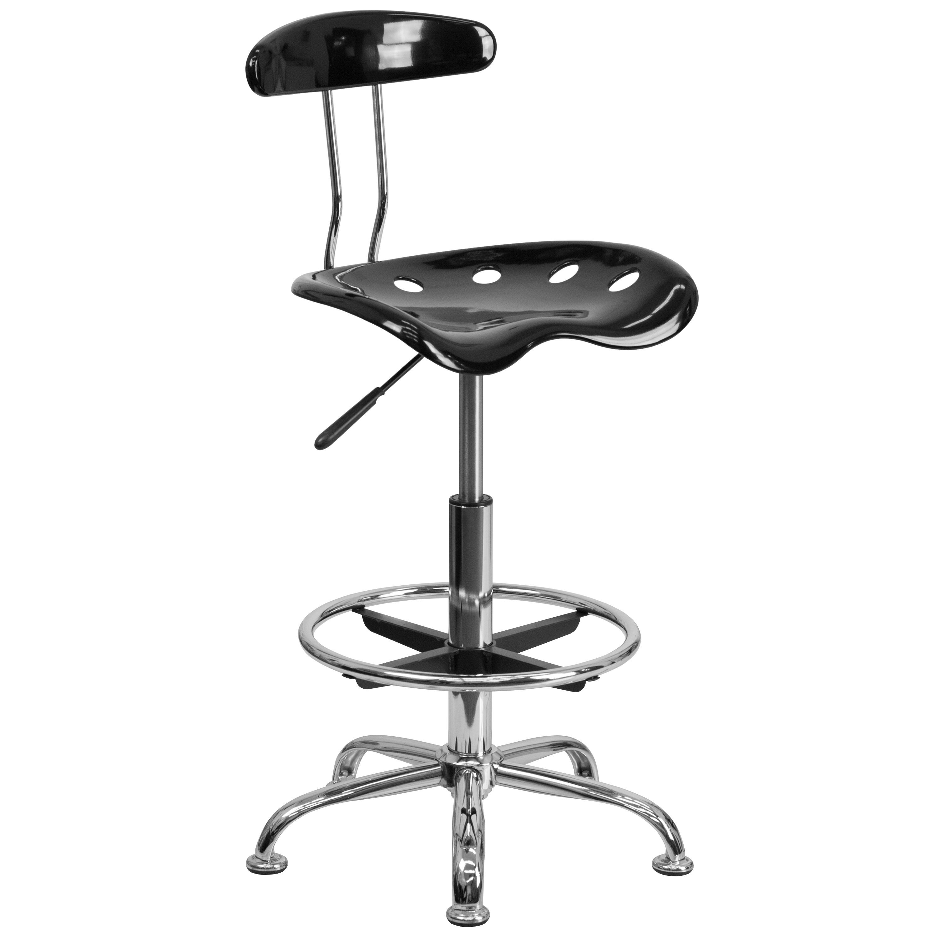 Flash Furniture LF-215-BLK-GG Black and Chrome Bar Stool Height Drafting Stool with Tractor Seat