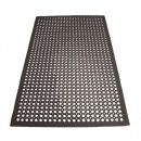 "Winco RBM-35K Black Anti-Fatigue Rubber Floor Mat 3"" x 5"" x 1/2"""