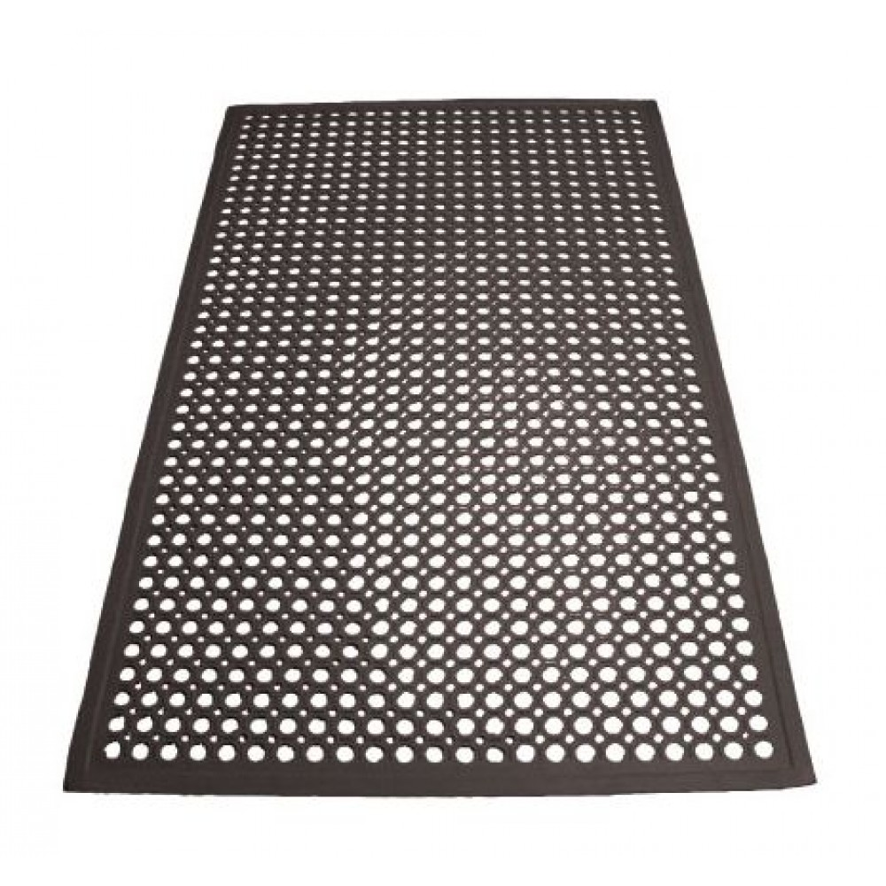 Black Anti-Fatigue Beveled Floor Mat - 3' X 5' X 1/2