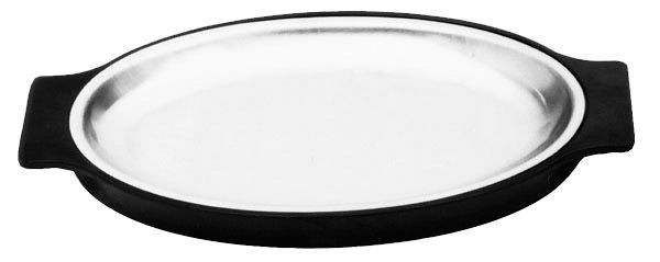 Johnson-Rose 4498 Black Bakelite Stainless Steel Oval Sizzle Platter and Base Set