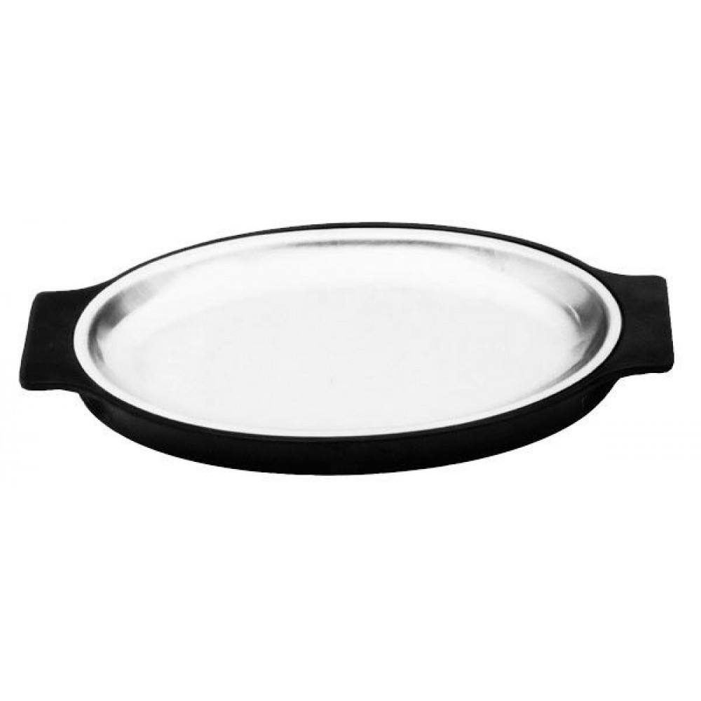 Black Bakelite Stainless Steel Oval Sizzle Platter & Base Set