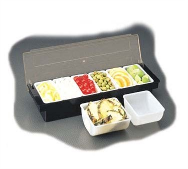 TableCraft 103 4-Compartment Black Plastic Bar Condiment Caddy with Clear Lid