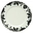 Black Brocade Charger Plate With White Center
