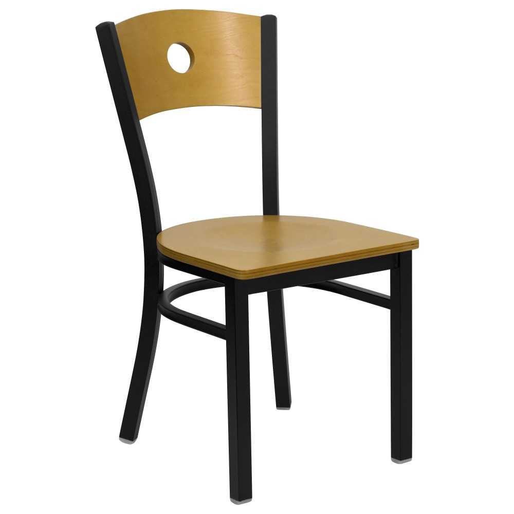 Black Circle Back Black Metal Chair with Natural Wood Seat and Back