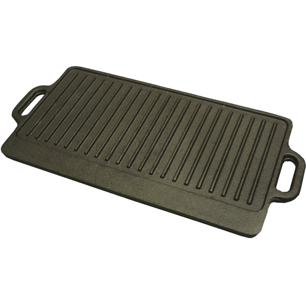 "Winco IGD-2095 Black Coated Cast Iron Griddle 20"" x 9-1/2"""