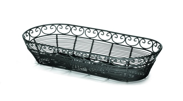 "TableCraft BK21815 Mediterranean Black Metal Oblong Basket 15"" x 6-1/2"" x 3"""