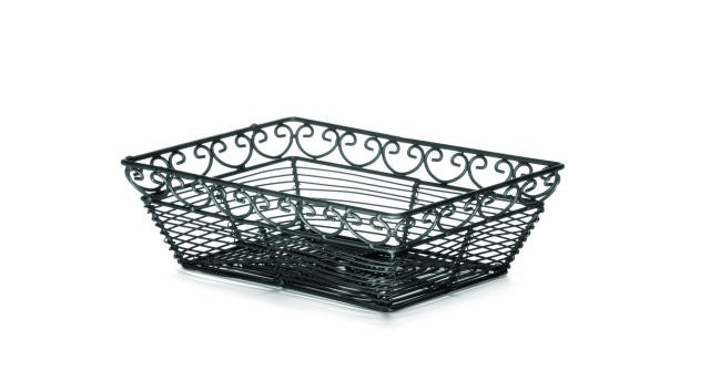 "TableCraft BK27209 Mediterranean Black Metal Rectangular Basket 9"" x 6"" x 2-1/2"""