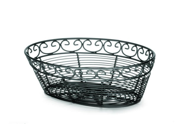 Black Coated Mediterranean Metal Oval Bread Basket - 10