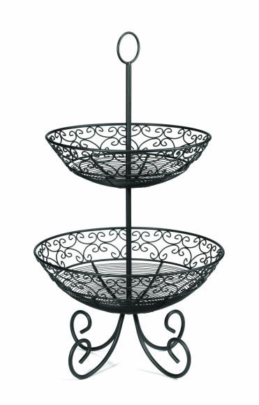 TableCraft BKT2 Mediterranean Two Tier Black Display Basket with Legs, 25