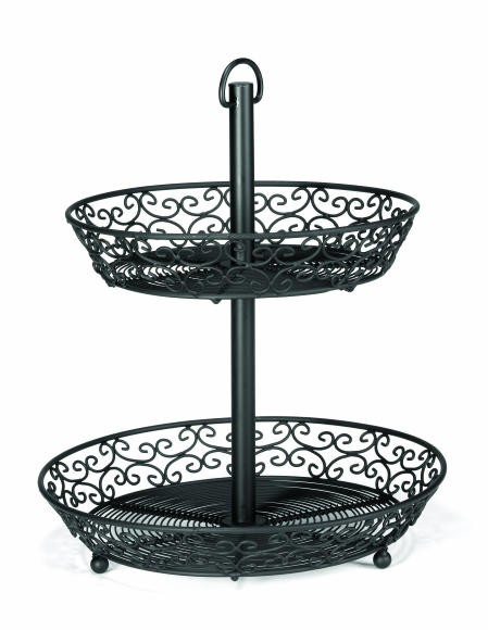"TableCraft BKT2A Black-Coated Metal 2-Tier Buffet Display without Legs 9""/10.5"" Baskets"