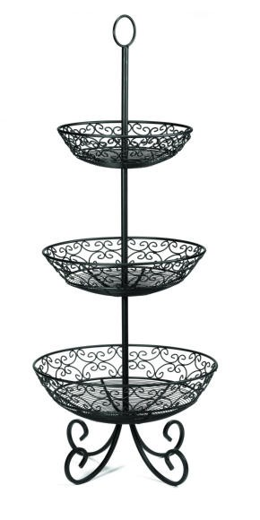 "TableCraft bkt3 Black-Coated Metal 3-Tier Buffet Display with Legs 10""/12""/14"" Baskets"